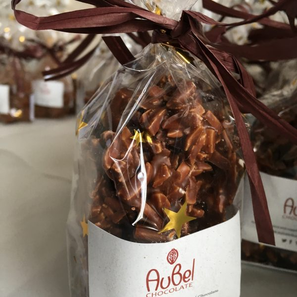 Milk and dark chocolate almond clusters